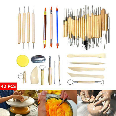 42X Wooden Handle Clay Sculpting Tools Pottery Carving Modeling Carving Craft