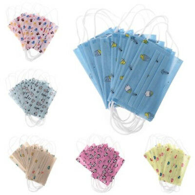 10pcs Kids Disposable Medical Mouth Face Mask Anti-Dust Cover Ear Loop Tool UK