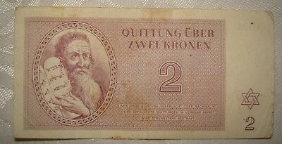 Jewish Judaica WW2 Theresienstadt Concentration Camp Ghetto Note 2 KRONEN 1943