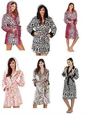 Ladies Luxury Animal Soft Hooded Fleece Bath Robe Dressing Gown