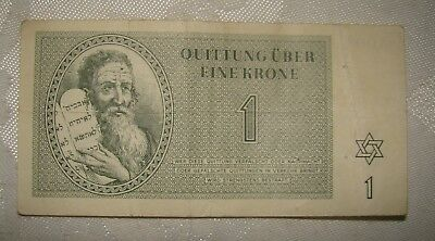 Jewish Judaica WW2 Theresienstadt Concentration Camp Ghetto Note 1 KRONE 1943