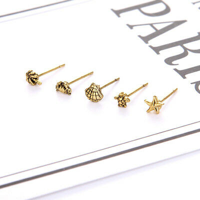 1 Set Lades Chic Ear Stud Starfish Turtle Coconut Crab Shell Earrings Gifts N7