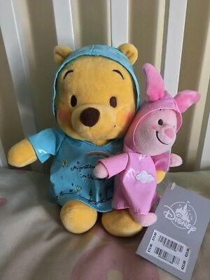Disney Store Winnie The Pooh & Piglet Rainy Day Rain Coat Plush Toy