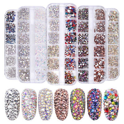 1440pcs Flat Back Nail Art Rhinestones Glitter Diamond 3D Tip DIY Decor Modish