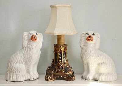 A Charming Pair of Antique c19th Staffordshire Wally Dogs, Pleading Faces