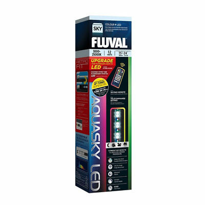"FLUVAL AQUASKY 15-24"" 12w COLOUR REMOTE LED LIGHTING FISH AQUARIUM STRIP WHITE"