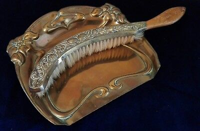 Vintage Beldray Art Nouveau Copper Crumb Tray with Crumb Brush