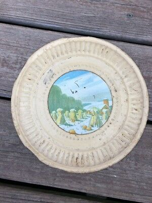 Vintage Plate Tin Stove Pipe Chimney Vent Cover Harvest Farm Scene Pumpkins