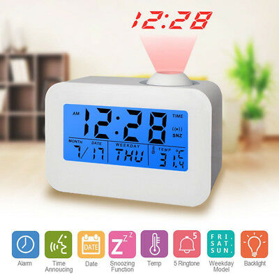 Projection Digital Weather LCDSnooze Alarm Clock Voice Talking Ceiling LED Light