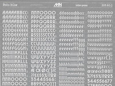 MECANORMA Transfers Lettering A3, #298 Fonts, PINTO INLINE WHITE 12mm
