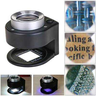 Cloth/Jeweler 30x Magnifying Glass Metal Magnifier Loupe with Scale 3 LED Lights