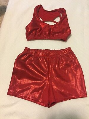 Dance 2 pcs top shorts shimmery red Girl Child Sz 10-12