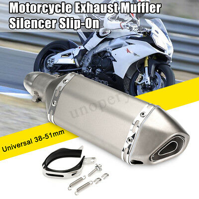 38-51mm Universal Motorcycle All Titanium Exhaust Muffler Pipe Remove Silencer