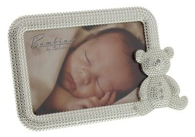Silver Plated Photo Frame With Teddy