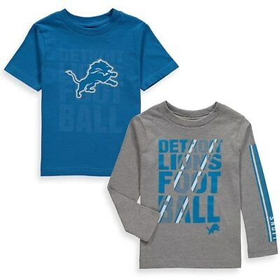 Detroit Lions Toddler Blue/Gray Two-Pack Playmaker Long Sleeve & Short Sleeve
