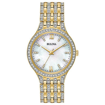 Bulova Women's 98L234 Quartz Crystal Accents Gold-Tone Bracelet 32mm Watch