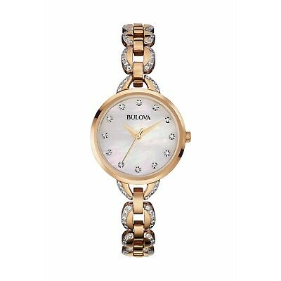 Bulova Women's Quartz Crystal Accents Rose Gold Tone Bracelet 21mm Watch 98L207