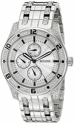 Bulova Men's Quartz Crystal Accents Silver-Tone Bracelet 43mm Watch 96C106