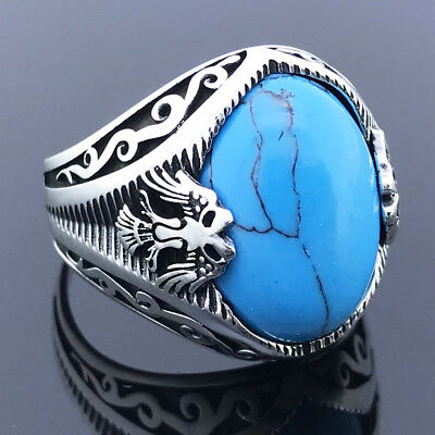 Solid 925 Sterling Silver Double Headed Eagle Oval Turquoise Stone Men's Ring