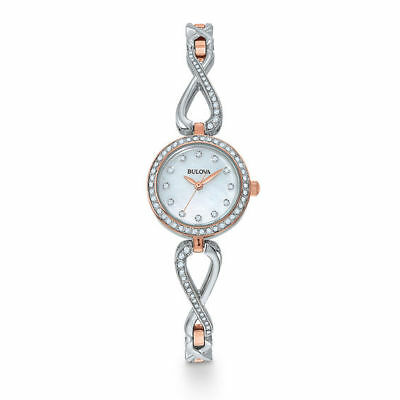 Bulova Women's Quartz Crystal Accents Two-Tone Bracelet 23mm Watch 98X108
