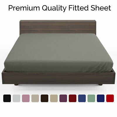 Soft Fitted Sheet Deep Single Double King Super King Size Bed Sheets
