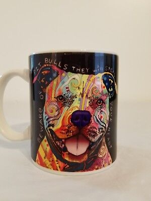 Pitbull Rescue Coffee Cup Dog Lovers Pug Ceramic Tea Artistic Art Colorful Pitt