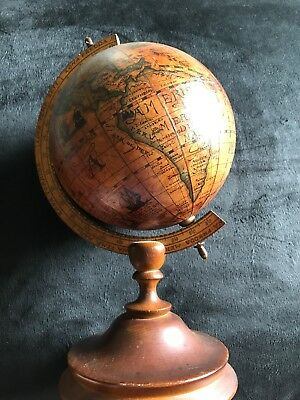 "12"" Tall Vintage Made In Italy Olde World Rotating Globe Wood"