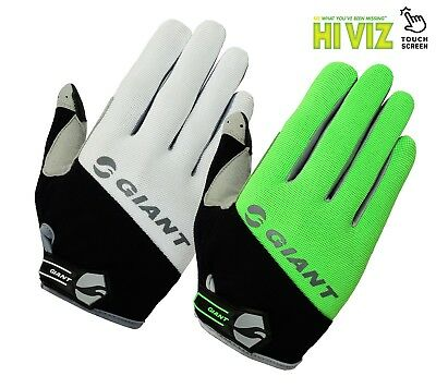 GIANT Hi Viz Cycling GLOVES High Visibility Full Finger Bike Bicycle Cycle Mitts