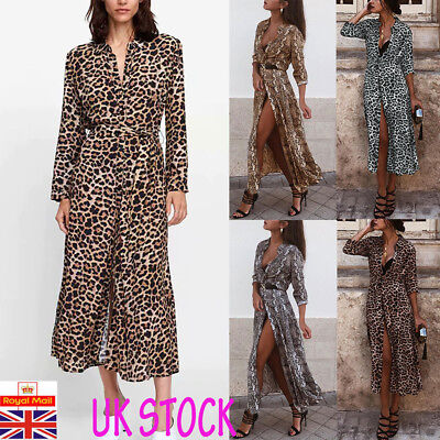 UK Womens Leopard Snake Print Maxi Dress Ladies Sexy Everning Party Wrap Dress