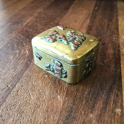 Antique Japanese Meiji Period Brass Snuff? Box with Raised Copper Decoration