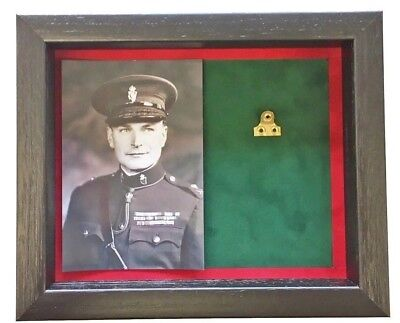 Medium RUC Medal Display Case With Photograph For 1 Medal. Black Frame
