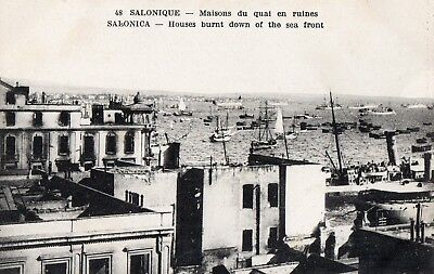 Greece 1918 Fire,Old Postcard Salonica Salonique, Houses burnt down at seafront