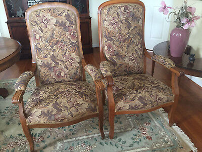 Voltaire armchairs, end of 19 century, louis philippe style lot of 2