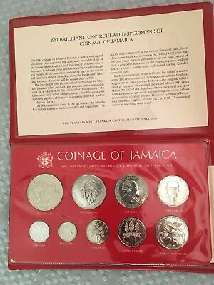 1981 Coinage of Jamaica 9-Coin Specimen Set with Information Sheet ~ Mintage 482