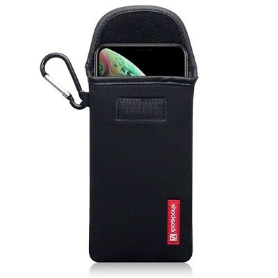 Apple iPhone XS Max Shocksock Neoprene Soft Pouch Case with Carabiner in Black