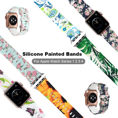 38/42mm Silicone Sports iWatch Band Painted Strap Bracelet for Apple Watch 4 3 2