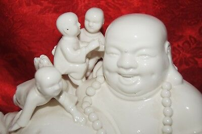 Large White Porcelain Happy Buddha With Children On Wooden Stand 16""