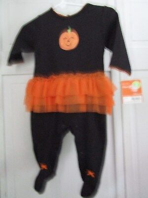 New Carters Halloween Girls One Piece Pumpkin With Tulle Size 3 Months NWT