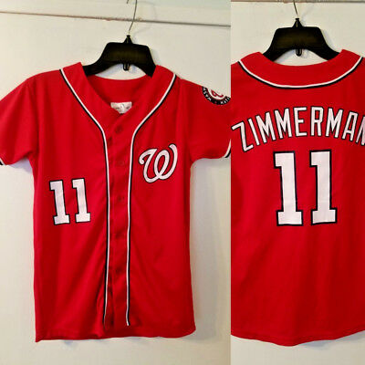 Washington Nationals Jersey KIDS YOUTH XL  11 ZIMMERMAN Red Short Sleeve MLB 176de79e9