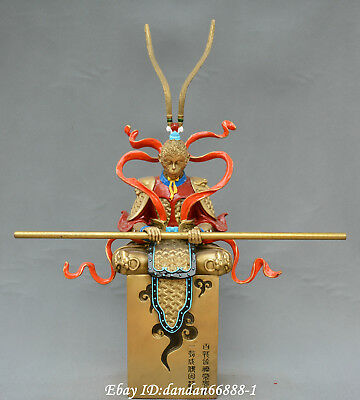Collect China fengshui old Bronze coloured drawing Sun Wukong Monkey King Statue