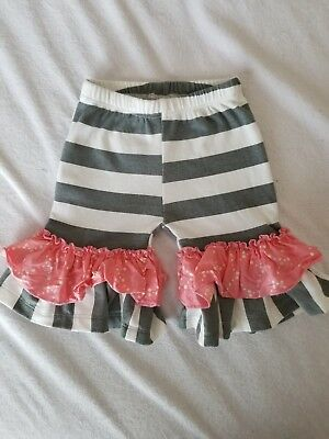 Giggle Moon 18month Pink Grey Ruffle Shorts