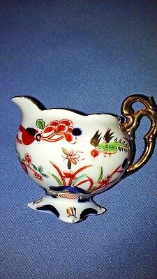 Porcelain Creamer~ Floral Miniature Made in Japan Hand Painted Gold Accents