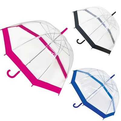 Drizzles Dome Transparent Clear Umberella Ladies Stick PVC Walking Rain Brolly