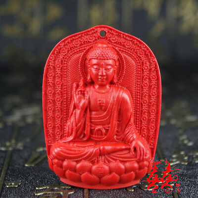 Natural Red Cinnabar Carving Lacquer Chinese Buddha Sculpture Pendant Necklace