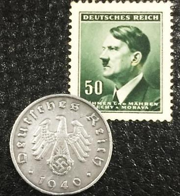 Rare WW2 German 10 Reichspfennig Coin and Unused Stamp Historical WW2 Authentic