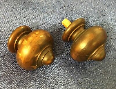 1920's Wood Walnut Pair of Curtain-Rod Bed Finials, Architectural Home Decor