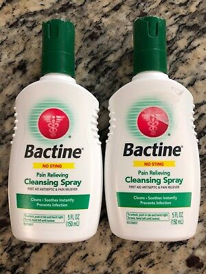 2 Bactine Pain Relieving Cleansing Spray Soothing Infection Protection 5 oz New