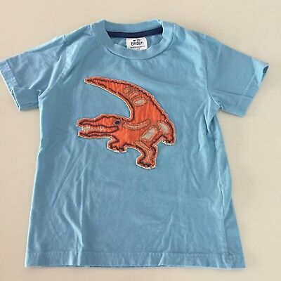"Mini Boden AWESOME Boys Blue ""ALLIGATOR"" Short Sleeve Shirt. 3-4 years, GREAT!!"