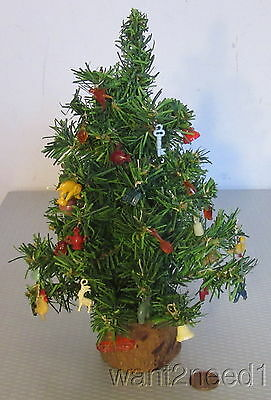 """antique miniature 9"""" CHRISTMAS TREE fully decorated CELLULOID CHARM ORNAMENTS"""