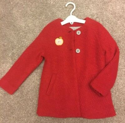 NWT 4T Catamini RED boucle LINED coat with POLKA dot lining